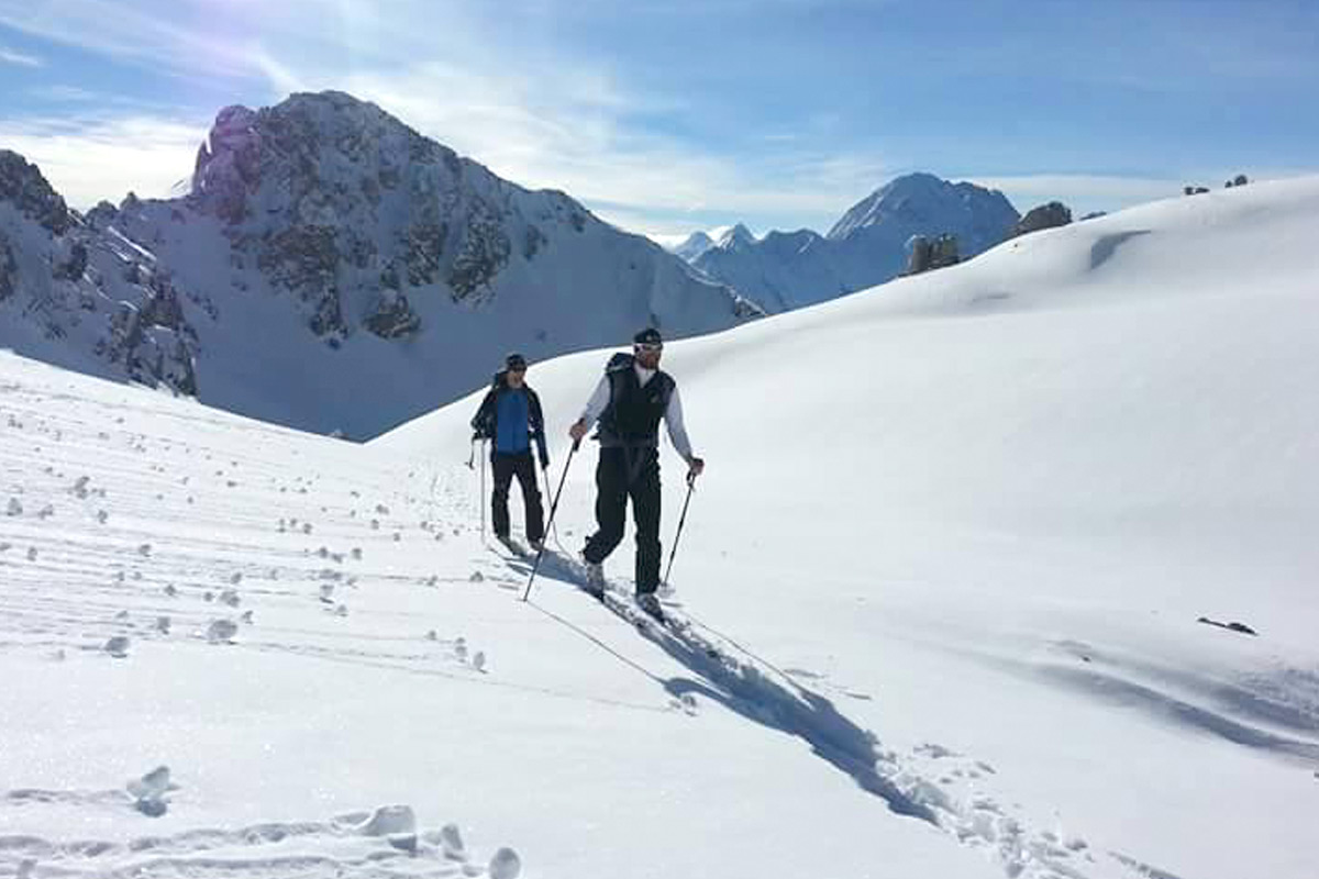 Ski tour in the stubai mountains