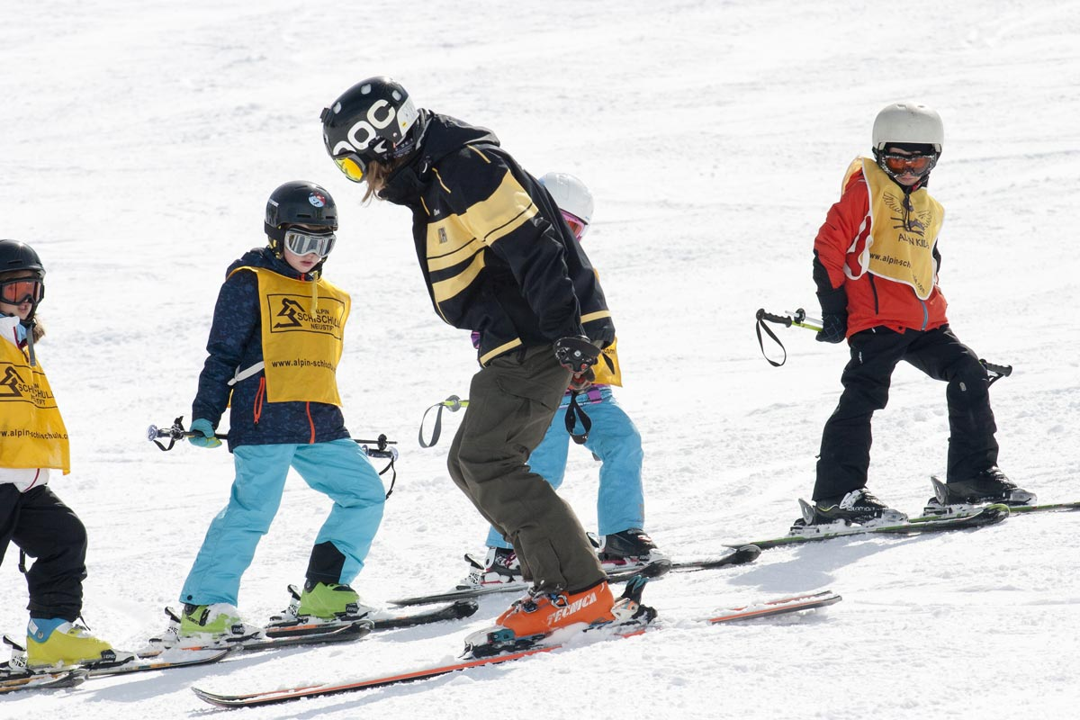 Children's ski school in neustift stubai glacier