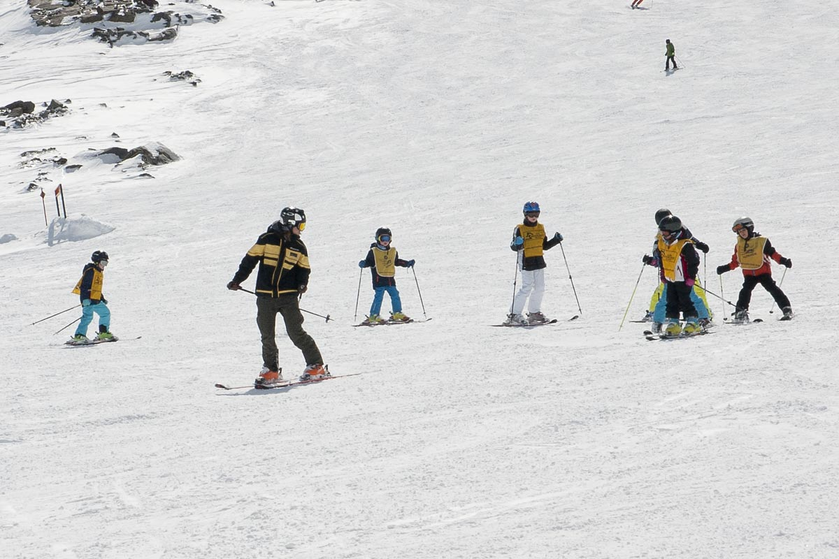 The ski school for children at the stubai glacier in neustift