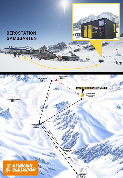 FFICE & MEETING POINT- ALPIN SKI SCHOOL  STUBAI GLACIER